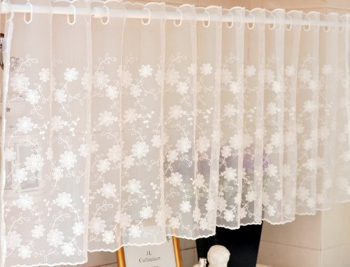 Cheap DIAIDI Mesh Lace Curtain, Curtain Sheer Pure and Fresh, Elegant Half Shade, Full Embroidery Lace Cabinet Curtain, Beige Kitchen Sheer, Coffee Screen, One Piece (15060 cm (WH))