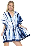 LA LEELA Cotton Tie_Dye Short Caftan Top Girl Navy Blue_1453 OSFM 14-28W [L-4X]