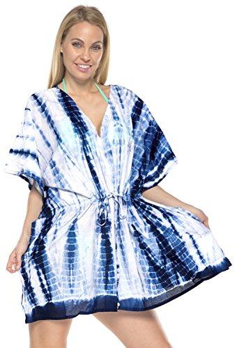LA LEELA Cotton Tie_Dye Short Caftan Top Girl Navy Blue_1453 OSFM 14-28W [L-4X] by LA LEELA