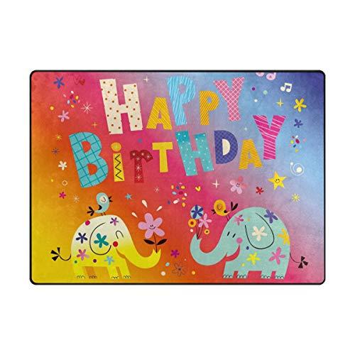 MyDaily Feliz cumpleaños Elefantes área Alfombra 4 x 5 3 ...