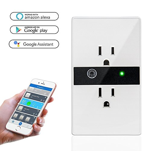Function Wall Control - TOP-MAX Smart WIFI Wall Outlet,WiFi Smart Plug Remote Control Timing Function,No Hub Required,Compatible with Amazon Alexa/Google Assistant/Google Home(Wall Socket)