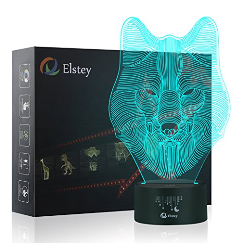 Animals Wolf 3D Night Light Touch Table Desk Lamps, Elstey 7 Color Changing Lights with Acrylic Flat & ABS Base & USB - Retail Kong Stores Hong