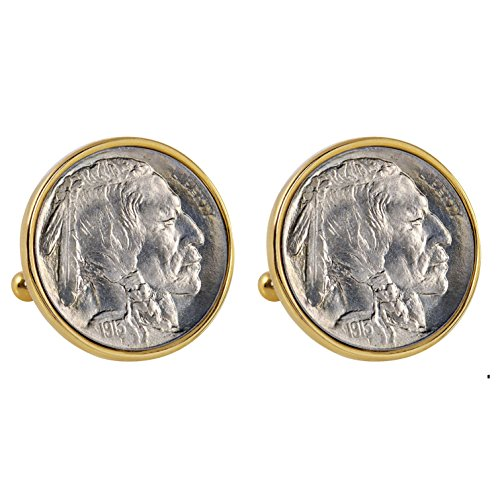 Smithsonian Institution 1913 First-Year-of-Issue Buffalo Nickel Goldtone Bezel Coin Cuff Links