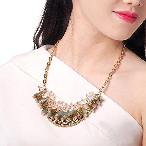 HONEYJOY New Dazzle Colour Crystal Female Luxury Clavicle Short Chain Exaggerated Fashion Necklace(blue) by HONEYJOY (Image #6)