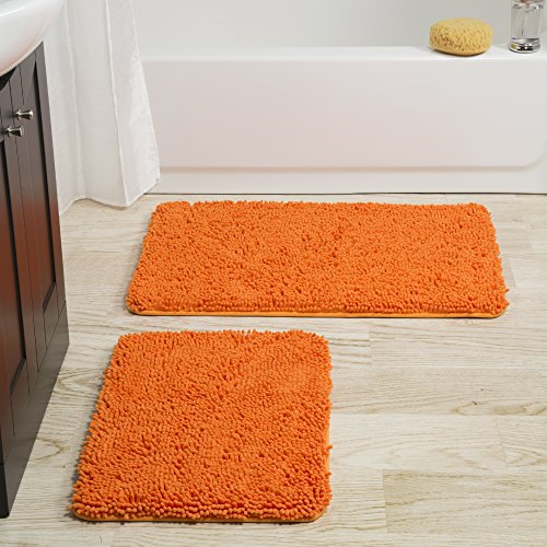 (Lavish Home 2 Piece Memory Foam Shag Bath Mat-Orange )