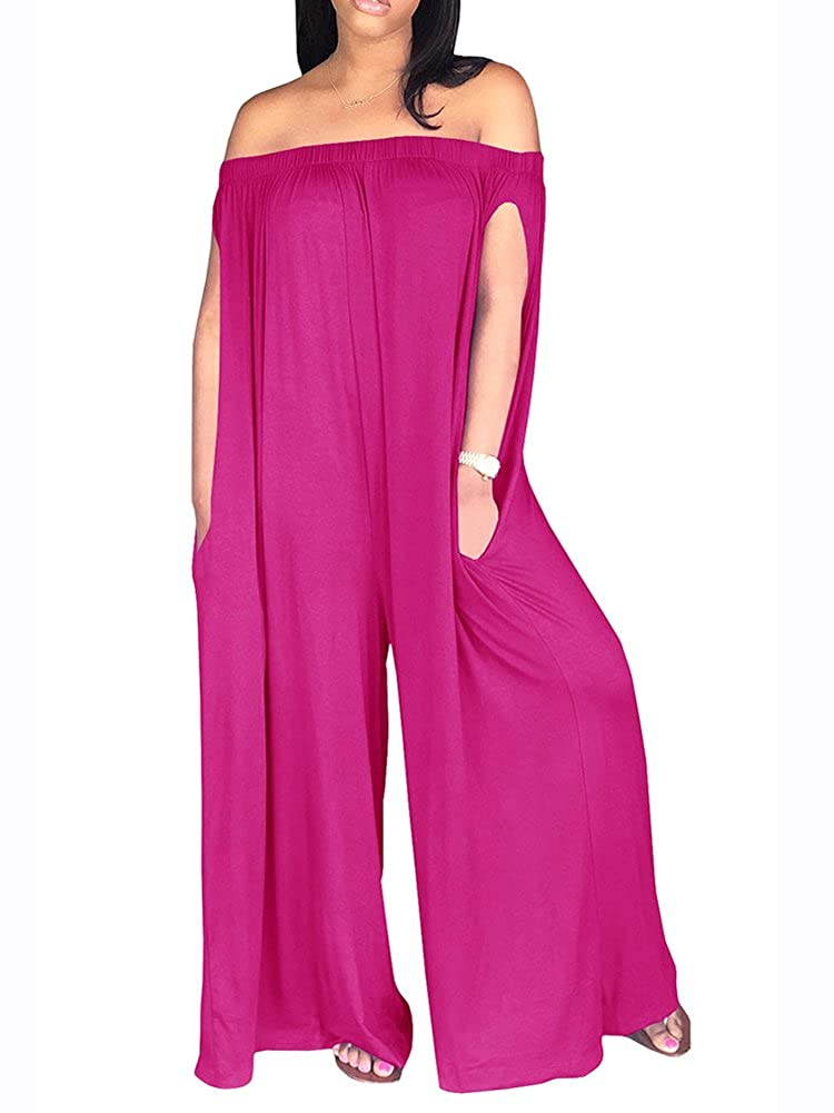 097c90576775 Amazon.com  Sibylla Women s Sexy Off The Shoulder Oversized Plain Jumpsuit  Romper Loose Wide Leg Long Pants with Pocket  Clothing