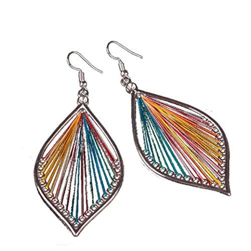 Spiral Earrings Polished - Muranba 1 Pair Sterling Silver Leaf Tassel Eardrop Earring (Colorful)