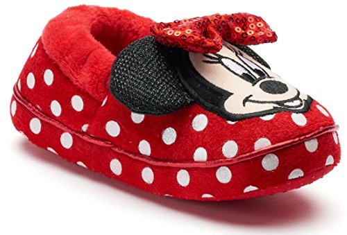 Minnie Disney Girl's Mouse Slippers (11-12 M US Little Kid, Red/White)]()