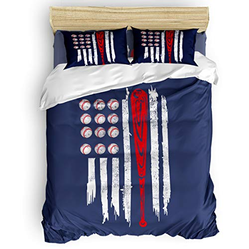 Picpeak Home Bedding Set 4 Piece Duvet Cover Set Full Size Baseball American Flag Lightweight Soft Bed Sheets, Duvet Cover, Flat Sheet and Pillow Covers for Children/Adults/Teen