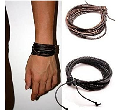 Perfect Shopping Men,Women's Adjustable Black & Brown Leather Wristband and Rope Cuff Bracelet, 18cm, 2-Pack from Perfect shopping