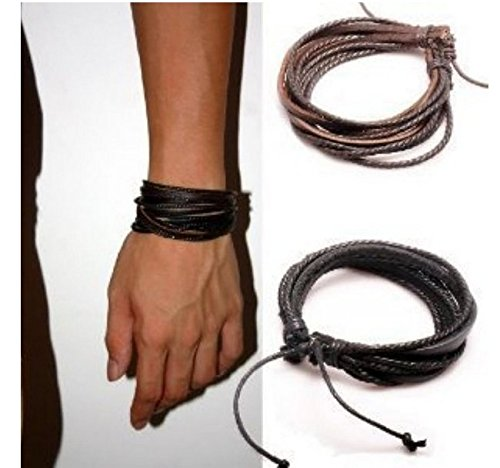 perfect-shopping-menwomens-adjustable-black-brown-leather-wristband-and-rope-cuff-bracelet-18cm-2-pa