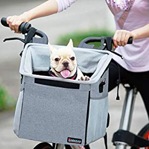 Pet Carrier Bicycle Basket Bag Pet Carrier/Booster Backpack for Dogs and Cats with Big Side Pockets,Comfy & Padded Shoulder Strap,Travel with Your Pet Safety,Gray 95