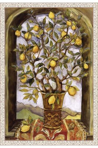 Poster Palooza Framed Lemon Branch Bouquet- 24x36 Inches - Art Print (White Wash Frame)