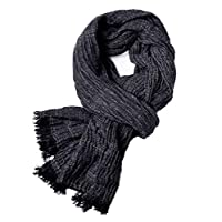Happyupcity 1 Pc Fashion Black Ruffle Effect Blended Scarf Soft Silky Reversible Scarf Solid Fringed Scarf Lightweight Scarf Around Neck Fall Winter Reversible Shawl Wrap for Unisex