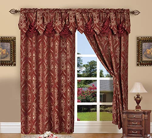 Elegant Comfort Penelopie Jacquard Look Curtain Panel Set with with Attached Waterfall Valance, Set of 2, 54x84 Inches, Burgundy