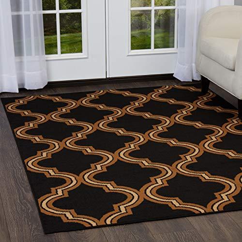 New Modern Trellis Geometric Area Rug 2x7 Ebony Runner Carpet - Actual 1' 9