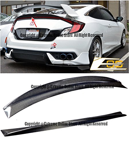 JDM CARBON FIBER Rear Trunk Light Center Add On Duckbill Lip Spoiler Wing For 16-Up Honda Civic 2Dr Coupe 2016 2017 2018 16 17 18 (Honda Civic 2dr Type)