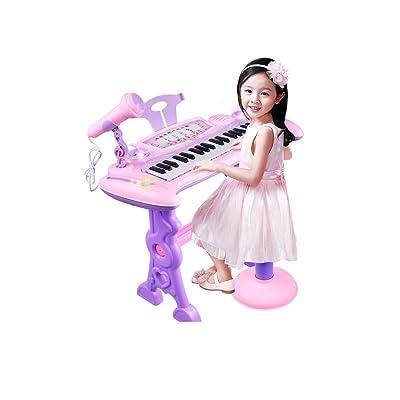 Hfmac 37 teclas Teclado electrónico musical Juguete de música for niños con micrófono Mic Taburete Taburete compatible con MP3 Sing Play Record for niños pequeños Niños Niños: Instrumentos musicales