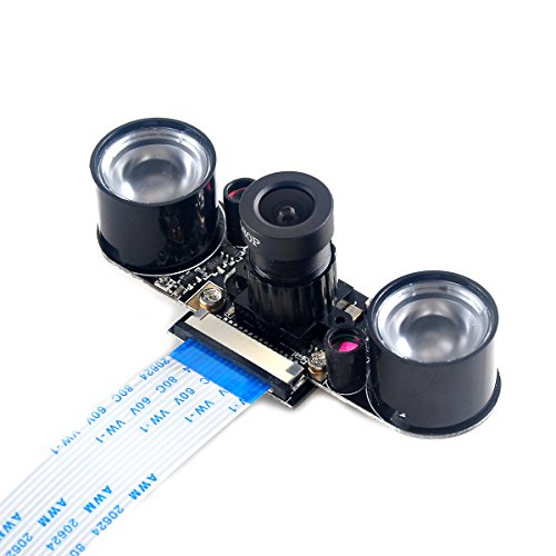 Makerfocus Raspberry Pi Camera Night Vision Camera Adjustable-Focus Module 5MP OV5647 Webcam Video 1080p for Raspberry-pi 2 Raspberry-pi 3 Model B Model B+ (Best Usb Webcam For Raspberry Pi)