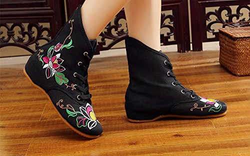 Avacostume Womens Floral Lace-up Single Boots Neri