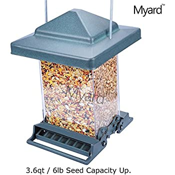 MYARD Double Sided Squirrel Proof Bird Feeder w/ Weight Adjustable Perch, 3.6qt / 6lb Up Seed Capacity (Green)