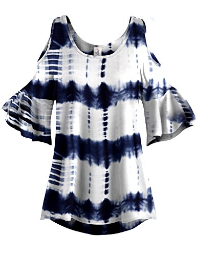White Patterned Pleated End Cold Shoulder Tunic Tops,014-Navy,US M