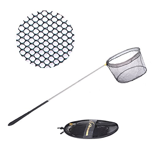 Fishing Net Safe Catch And Release Fish Landing Net  Foldable  Telescoping Durable Comfortable Non Slip Rubber Handle  Extends 28 35To76 38In Long