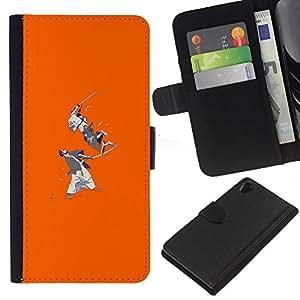 LECELL--Cuero de la tarjeta la carpeta del tirón Smartphone Slots Protección Holder For Sony Xperia Z2 D6502 -- Samurai Batalla --