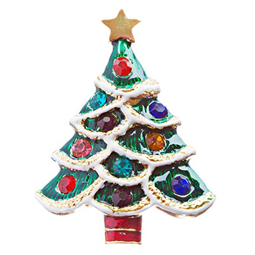 ACCESSORIESFOREVER Christmas Jewelry Crystal Rhinestone Lovable Holiday Tree Brooch Pin BH140 Multi by Accessoriesforever