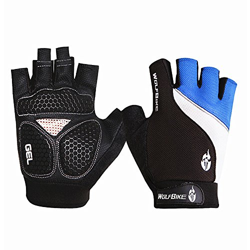 Ezyoutdoor Unisex Lycra&Silica Gel Grip Half Finger Gloves Mountain Road Bicycle Racing Crossfit Sport Fitness Exercise Gloves (Blue, M)