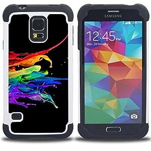 "Hypernova Híbrido Heavy Duty armadura cubierta silicona prueba golpes Funda caso resistente Para SAMSUNG Galaxy S5 V / i9600 / SM-G900 [Resumen Color Splash""]"