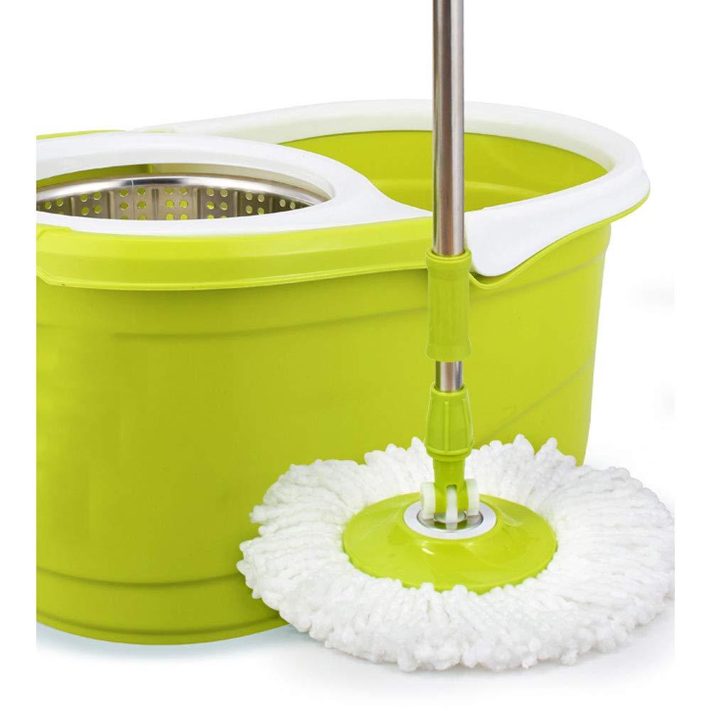 ZZHF モップ回転ダブルドライブ手洗い手の必要はありませんプレス脱水家庭の濡れたドライモップ ステンレス製モップ (色 : アップルグリーン, サイズ さいず : A) B07L4BX7KJ A|アップルグリーン アップルグリーン A