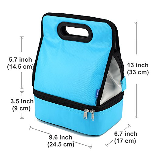 Expandable Lunch Bag Double Layer Cooler Tote Bag for Adult Women and Men - Idea for Beach, Picnics, Road Trip, Meal Prep, Everyday Lunch to Work or School, Ice Blue by yodo (Image #7)