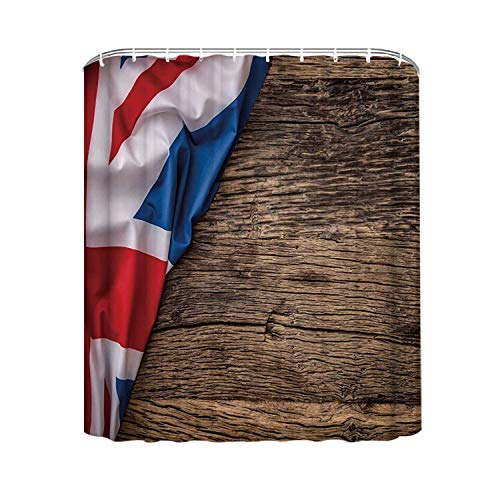 YOLIYANA Union Jack Creative Shower Curtain,Flag of United Kingdom on Old Oak Wooden Board English Nation Country Britain for Long Use Time,94'' W x72'' H (94 Country With Blue On Its Flag)