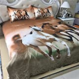 W&P white and brown horse style printed queen size polyester and cotton bedding sets 4pcs bed sheet pillowcase duvet cover set , queen