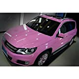HOHO Pink Glossy Wrap Vinyl Car Sticker Auto Vehicle Styling Film with Air Bubble Free 60''x98ft Roll