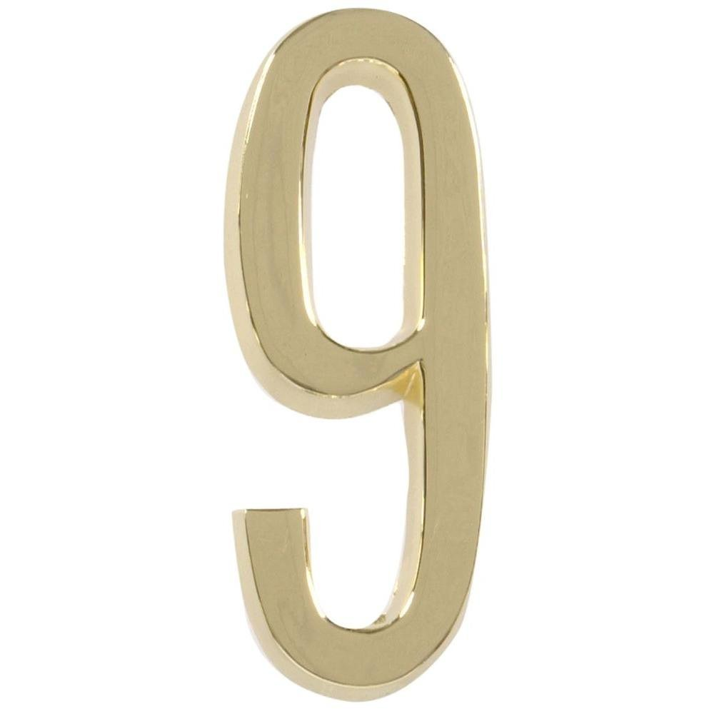 The Hillman Group 4 in. Distinctions Brass-Plated Number 9