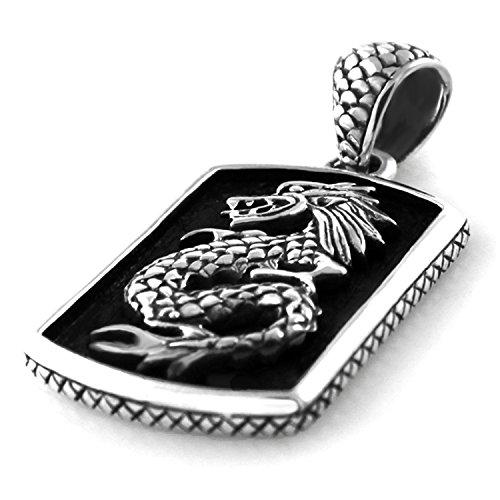 925 Sterling Silver Shadow Dragon Pendant (Silver Tag Charm Dog Pendant)