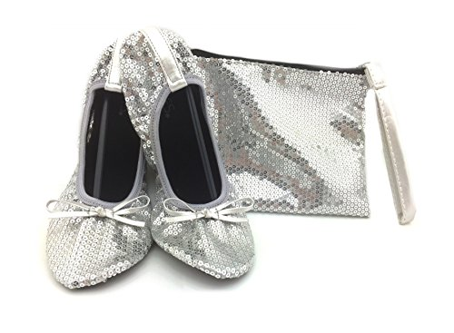 Shoes 18 Women's Foldable Portable Travel Ballet Flat Shoes w/ Matching Carrying Case Silver Sequin 9/10 (Sequins Ballet Shoes)