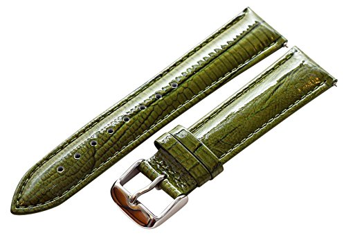 20mm 2 Piece Ss Leather Lizard Grain Olive Green Interchangeable Replacement Watch Band Strap -