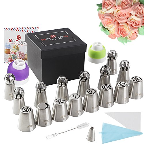Russian Piping Tips Baking Supplies 31pcs The ONLY Cake Piping Nozzles Set with Perfect 16 Flower and Sphere Icing Tips Combo By MRTONG Cake Decoration Tips