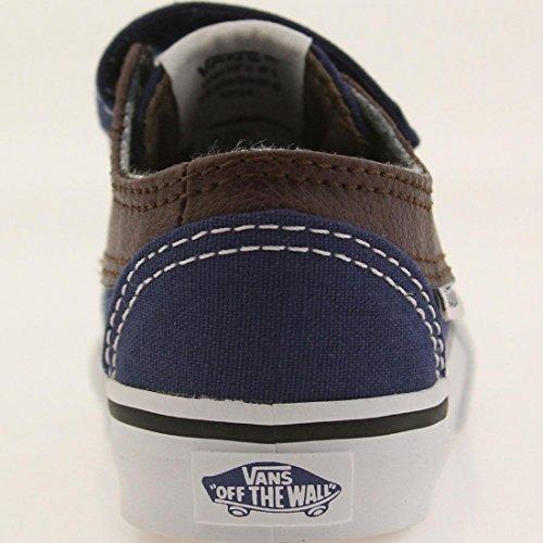 Vans Brigata V - Mocasines Bebé-Niños Azul (leather/plaid/estate Blue/potting Soil)