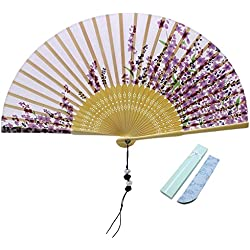 Jsswb Light Purple Silk Folding Fan with Violet