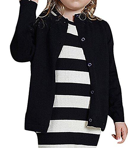 Pupik, Girls' Simple Plain Bright Color Ribbed Trim Long Sleeve Cardigan, Black 9-12 Months