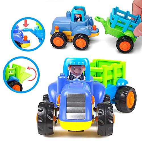 515YHwBzNgL - Woby Push and Go Friction Powered Car Toys Set Tractor Bulldozer Mixer Truck and Dumper for Baby Toddlers