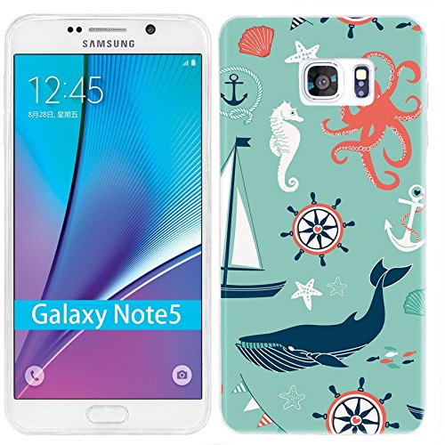 Note 5 Case,Galaxy Note 5 Case, ChiChiC [Cute Series] Full Protective Case Slim Flexible Soft TPU Gel Rubber Cases Cover Skin for Samsung Galaxy Note 5,navy anchor whale sea horse octopus (Seahorses Note)
