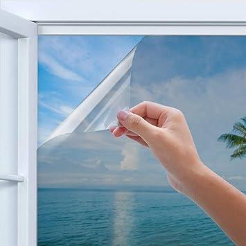Homegoo Blackout Windows Film Anti UV Heat Control Sun Blocker Privacy Protection Glass Tint Sticker Privacy Window Film 17.5 X 78.7 Inch Silver