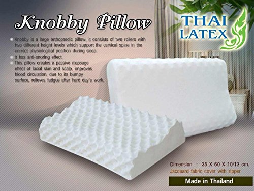 2 X Packs Green Health 100% Natural Latex Pillow Talalay Hypoallergenic Natural Latex Foam / Jacuard Fabric Cover with Zipper - Made in Thailand / Massage Contour Pillow by THAI LATEX