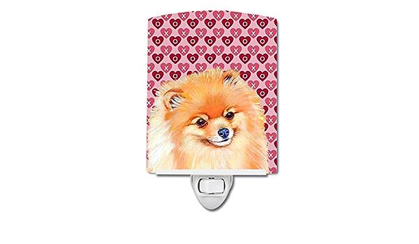 Carolines Treasures LH9170CNL Pomeranian Hearts Love and Valentines Day Portrait Ceramic Night Light 6x4x3 Multicolor