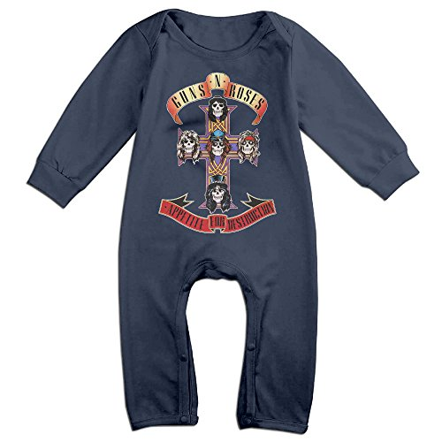 [KIDDOS Baby Infant Romper Guns N' Roses Long Sleeve Jumpsuit Costume,Navy 18 Months] (Blues Clues Costumes Toddler)